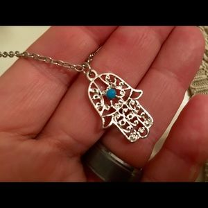 """Jewelry - Gorgeous Silver-Tone Hamsa Turquoise Necklace 18"""""""